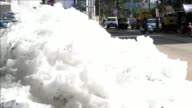 Toxic foam overflows on the streets of Banglore as residents complain that effluent caused from nearby Lake Varthur is causing a serious stench and...