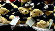 Toy police bears launched at Hamley's Bobby Bear teddy bears on shelf 'Child Victims of Crime' label on side