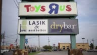 Toys R Us signage stands in Louisville Kentucky US on Monday September 18 2017 Photographer Luke Sharrett Shots CU of entrance and automatic doors...