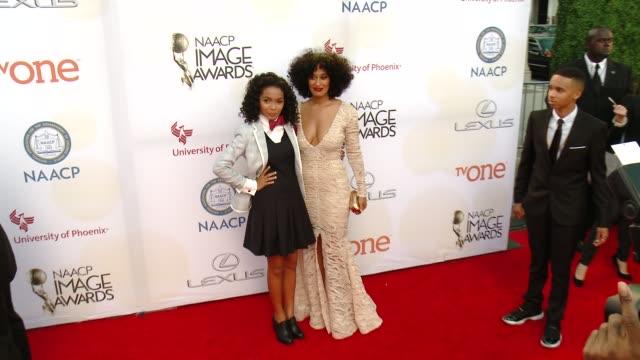 Tracee Ellis Ross and Yara Shahidi at the 46th Annual NAACP Image Awards Arrivals at Pasadena Civic Auditorium on February 06 2015 in Pasadena...