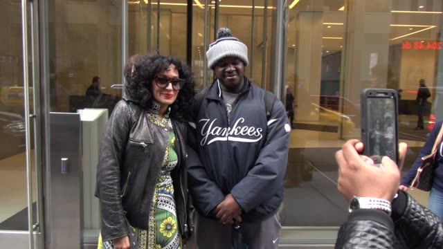 Tracee Ellis Ross at SiriusXM Satellite Radio poses with fans on March 15 2016 in New York City