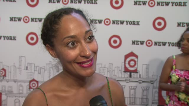 Tracee Ellis Ross talking about Target in NY and shopping for families at the Target Celebrates Opening Of East Harlem Location With StarStudded...
