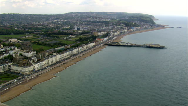 track along Hastings seafront - Aerial View - England,  Greater London,  Bexley,  United Kingdom