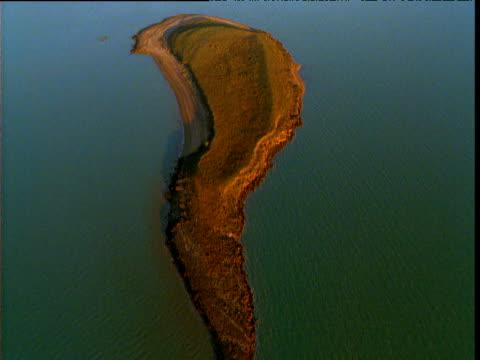 Track and dive over sandy island, Gulf of Carpentaria, Queensland, Australia
