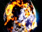 Track around earth orbiting in space zoom out to reveal storm of meteorites traveling to planet and exploding on surface