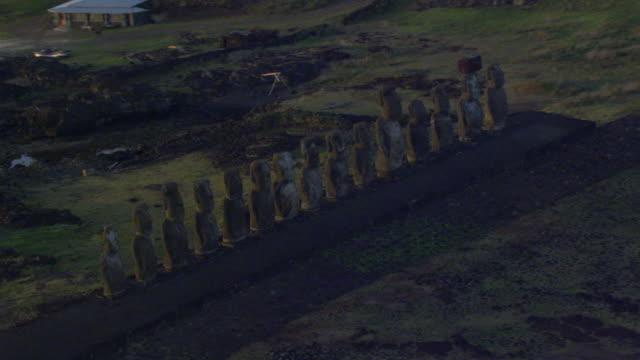 Track around Moai statues on Ahu platform at sunset, Easter Island