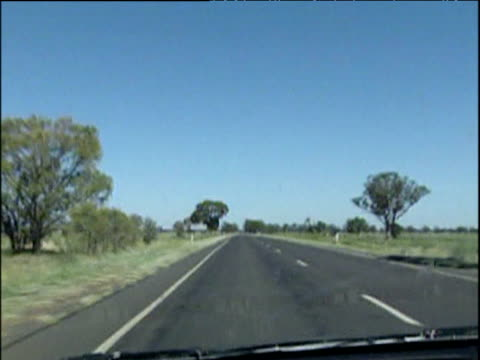 Track forward from car as locusts hit windscreen New South Wales Apr 04