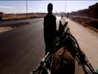 Track forward from cart over donkey's back as it's led along road partly silhouetted