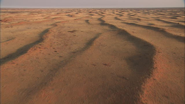 Track forward over long ranges of low hills create a wavy pattern across the sandy Kalahari Desert. Available in HD.