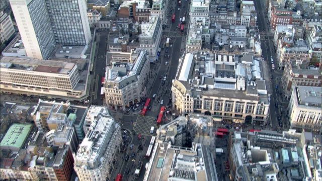 Track forward over Oxford Street to BBC Broadcasting House London Available in HD.