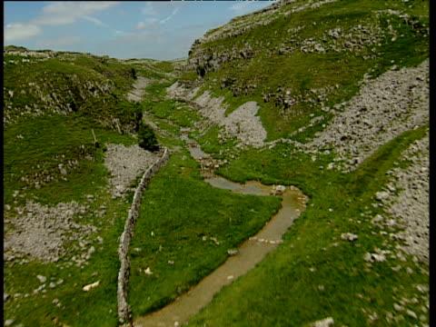 Track forward through rocky limestone gully Gordale Scar Yorkshire