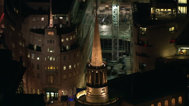Track forward towards BBC Broadcasting House London Available in HD.