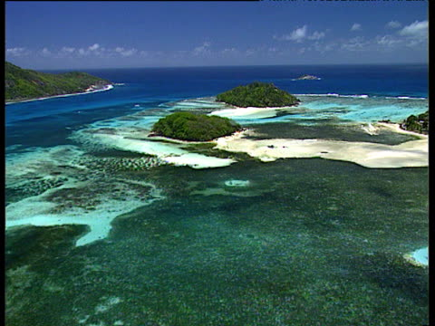 Track forwards over small tropical islands and atolls surrounded by sandy beaches with Indian Ocean in background Seychelles