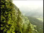 Track from cable car as it ascends mountain passing tops of pine trees rocky mountain side valley below Switzerland