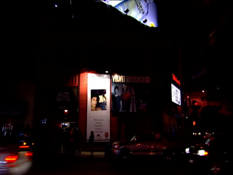 Track from car past Whiskey a Go Go music club Sunset Strip Los Angeles