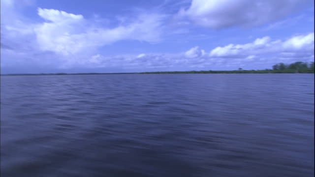 Track left from boat across expanse of Niger River, Nigeria