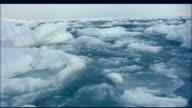 Track left over drift ice floating on ocean, Shiretoko, Hokkaido