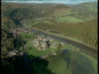 Track left over Tintern Abbey by River Wye surrounded by lush green countryside, Gwent