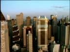 Track left past skyscrapers of Manhattan skyline
