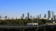 Track of Tokyo skyline from Yurikamome line