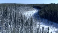 Track over a frozen river winding through the evergreen forests of Nunavut Territory. Available in HD.