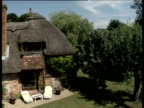 Track over thatched cottage with neat garden and swimming pool to brown fields Crawley Hampshire