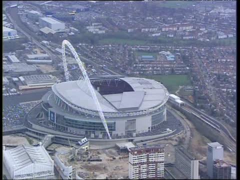 Track over Wembley Stadium London
