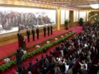 Track over Xi Jinping during speech at the Great Hall of the People after being chosen to be China's new leader