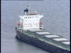 Track right around large cargo ship