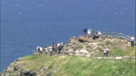 Track round Shakotan Peninsula from lighthouse to tourists at lookout point, Hokkaido