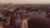 Tracking aerial view of the Anzac Bridge. Sydney Australia