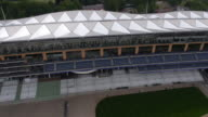 Tracking birds eye view of the new grandstand at Ascot Racecourse Captured by a licensed UAV operator with PFAW