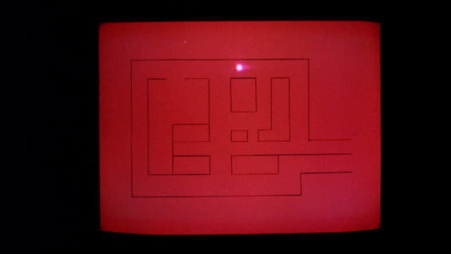CU Tracking dot moving on red screen of television monitor