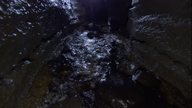 Tracking over a cave river, Yorkshire. Available in HD.