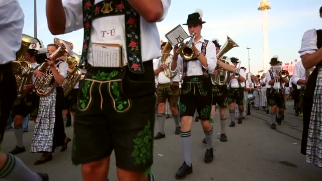 Tracking Shot Bavarian Brass Band plays during day 1 of the Oktoberfest 2013 beer festival at Theresienwiese on September 21 2013 in Munich Germany...