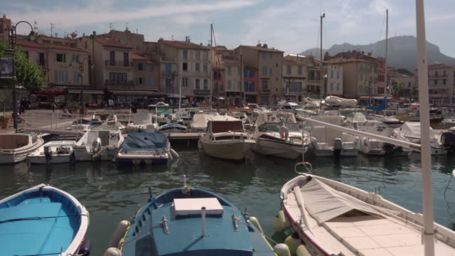 Tracking shot harbor of Cassis, Mediterranean coast