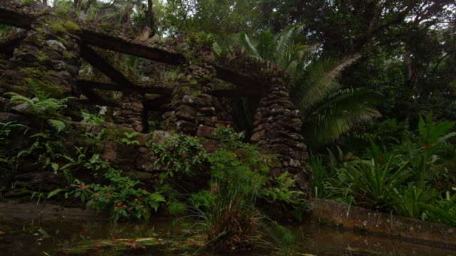 Tracking shot looking up at stacked stone structure in the Jardim Botanico in Rio, Brazil
