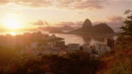 Tracking shot of Rio, Sugarloaf, sunshine, and Botafogo Bay.