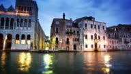 Tracking shot of waterfront buildings on the Grand Canal