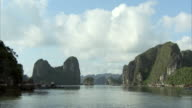 Tracking shot past some of the forested islands of Halong Bay, Vietnam.