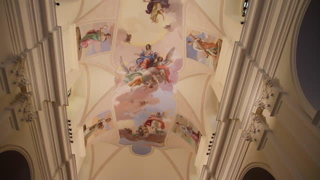 Tracking the beautiful frescoes on the ceiling of the baroque Noto Cathedral dedicated to Saint Nicholas of Myra, Sicily, Italy