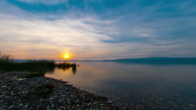 Tracking time lapse of the Sea of Galilee at sunset