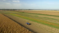 AERIAL Tractor Cultivating The Field