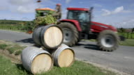 A tractor in the vineyards near Sancerre in the Loire Valley