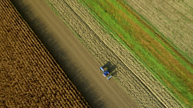 AERIAL Tractor Sowing The Field