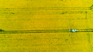 Tractor spray fertilize rapeseed field with insecticide herbicide chemicals