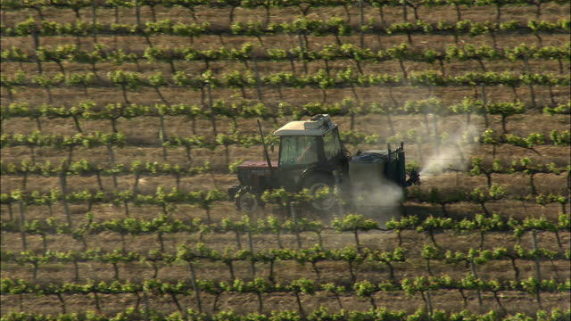 AERIAL Tractor spraying vines with pesticide, Stellenbosch, Western Cape, South Africa