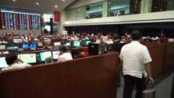 Traders work on the floor of the Philippine Stock Exchange in the Makati district of Manila the Philippines on Monday May 18 A Philippine Stock...