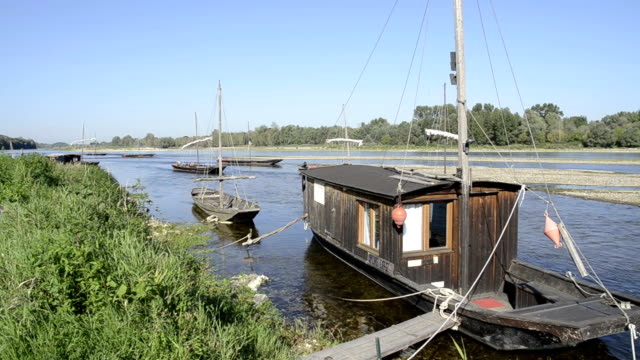Traditional boats on the river Loire