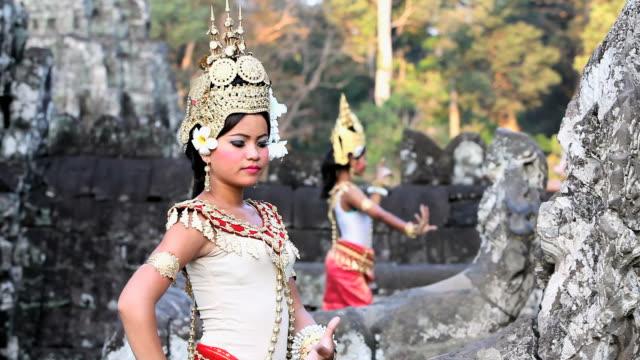 MS Traditional Cambodian apsara dancers dancing in  temples of Angkor Wat / Cambodia